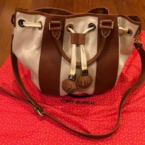 Authentic Tory Burch canvas and leather purse.